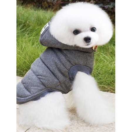 Fashion Pet Down Jacket Thick Cotton Dog Coats for Dogs, Hoodies Sweatshirt Jacket Clothes For Small Medium Large Dogs, Gray / Navy Blue Vest Hat Warm Apparel Puppy Cat Dog - Birthday Hat For Dog
