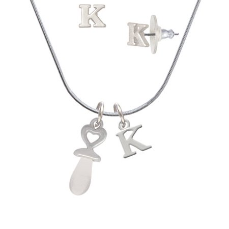 Pacifier Charm Jewelry - 3-D Clear Frosted Baby Pacifier - K Initial Charm Necklace and Stud Earrings Jewelry Set