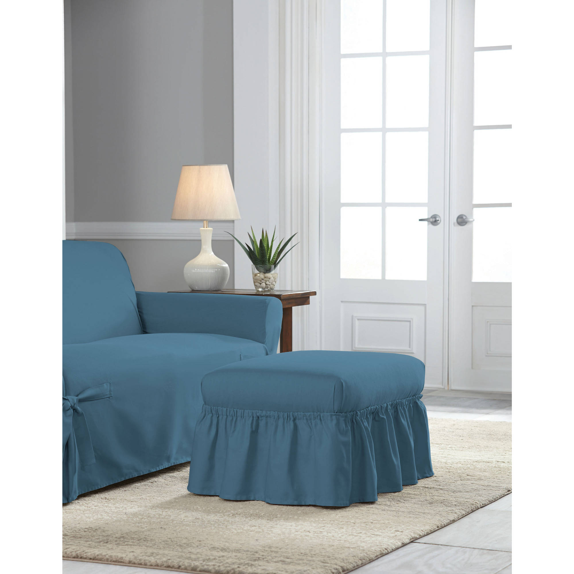 High Quality Serta Relaxed Fit Duck Furniture Slipcover, Ottoman   Walmart.com