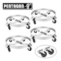 Pentagon Tool | Heavy Duty | 5 and 30-Gallon Drum Dolly | 4-Pack | Silver