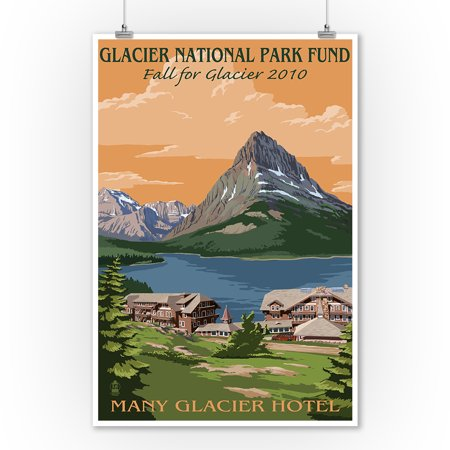 Glacier National Park Fund   Many Glacier Hotel   Lantern Press Poster  9X12 Art Print  Wall Decor Travel Poster
