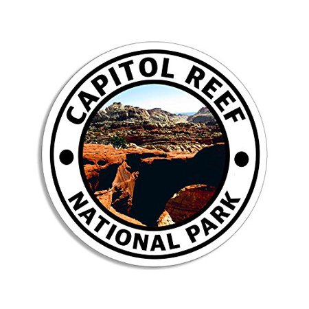 4x4 inch Round Capitol Reef National Park Sticker (Hike Travel (Best Hikes In Capitol Reef National Park)