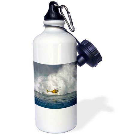 Footed Bottle (3dRose A helicopter hovers in front of 60 foot surf crashing on Mauis Northshore at Peahi (Jaws), Sports Water Bottle, 21oz)