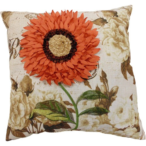 """Better Homes & Gardens Coral Sunflower Decorative Throw Pillow, 18"""" x 18"""", Coral"""