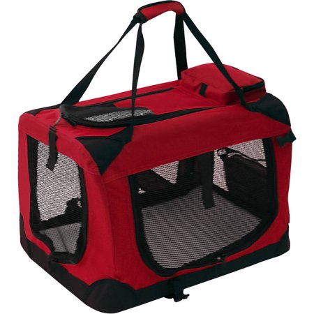 ALEKO PCRED02S Collapsible Pet Carrier Heavy Duty Portable Pet Home Spacious Traveler with Soft Cozy Insert Mat, Red
