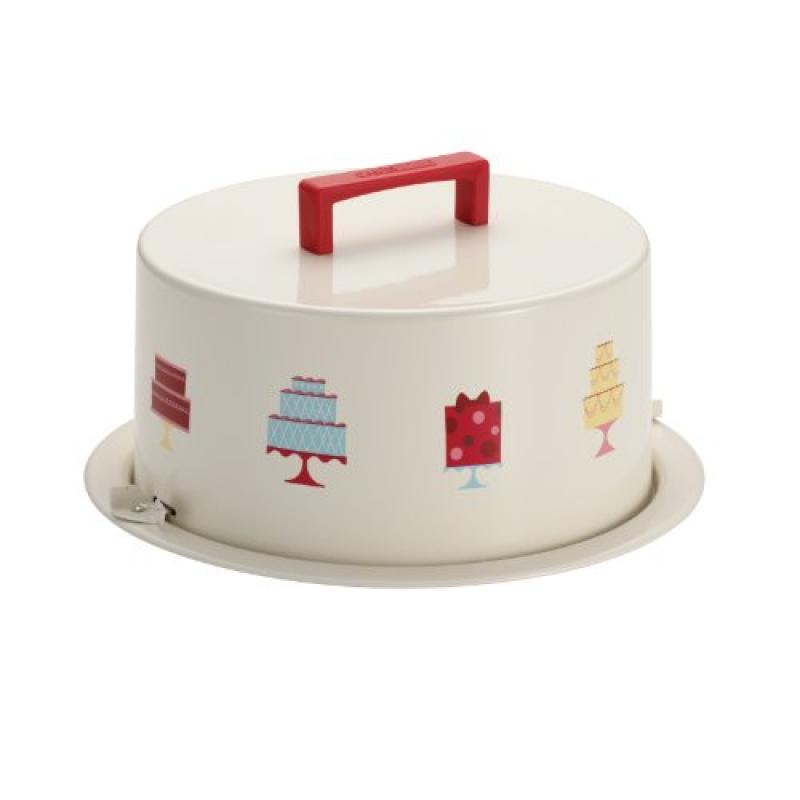 "Cake Boss Serveware Metal Cake Carrier, ""Mini Cakes,"" Cream"