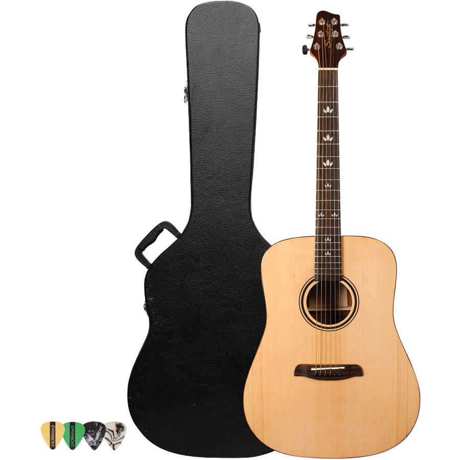 Sawtooth Beginner's Acoustic Dreadnought Guitar Kit with Custom Black Pickguard, Includes ChromaCast Hard Case and Pick Sampler, Natural Finish