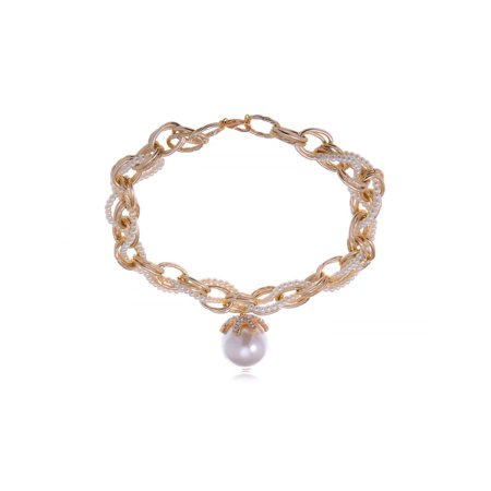 Golden Tone Chain Link Twist Braid Faux Pearl Rhinestone Fashion Choker (Faux Pearl Twisted Necklace)