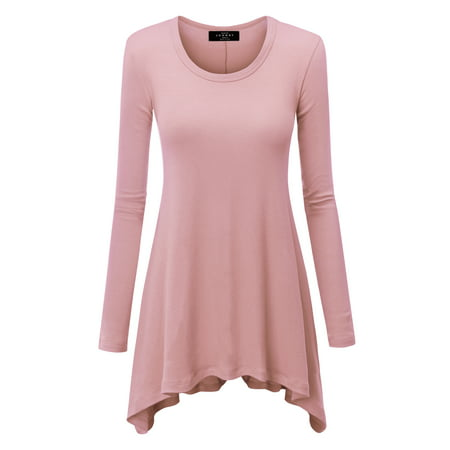 Trapeze Tunic Top (WT953 Womens Round Neck Long Sleeve Rib Trapeze Tunic Top M Pink )