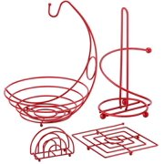 4 Piece Useful Kitchen Set Red