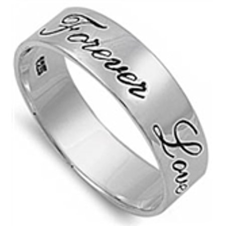 Forever Love Solid Band .925 Sterling Silver Ring Sizes 4-13 ()