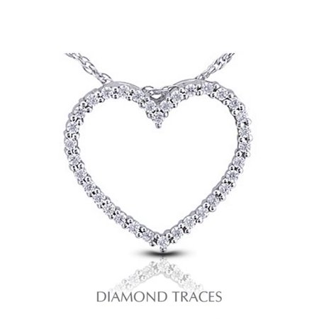 Diamond Traces 1.07 Carat Total Natural Diamonds 14K White Gold Prong Setting Heart Shape Fashion Pendant - image 1 de 1