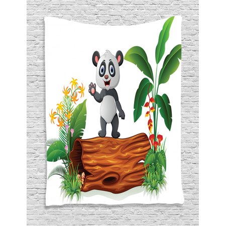 Animal Tapestry Wall Hanging Cute Baby Panda Standing on a Tree Trunk Tropical Flowers Big Leaves Colorful Art, Bedroom Living Room Dorm, Green Brown, by Ambesonne thumbnail