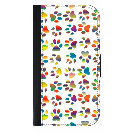 (Colored Paw Prints - Wallet Style Phone Case with 2 Card Slots Compatible with the Standard Samsung Galaxy s8 Universal)