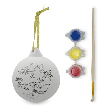 Paint your Own Santa Christmas Ornaments- DIY Craft Kit - Handprint Santa Ornament