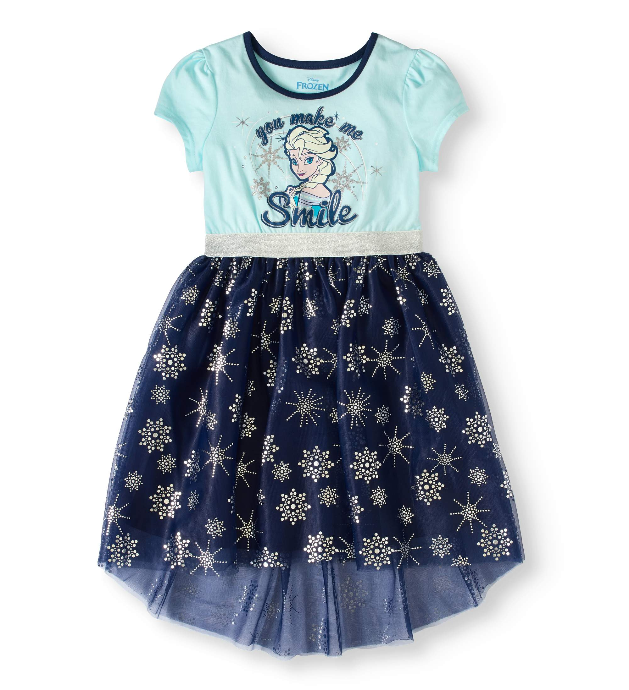 Disney Frozen Girls' Elsa Glitter Graphic Short Sleeve Dress with Foil Print Mesh