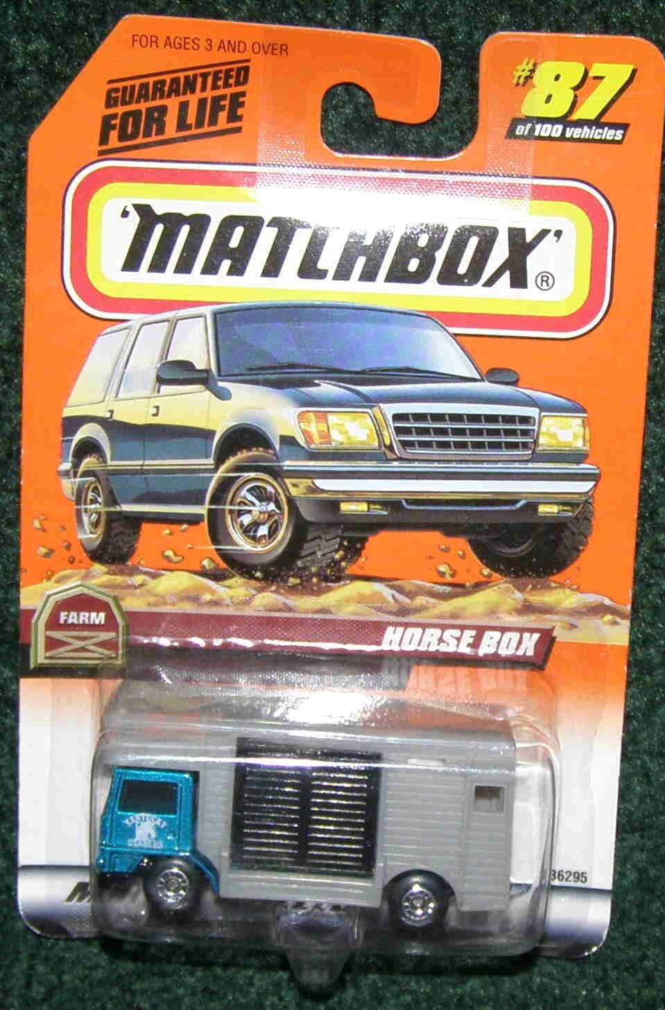1999 #87 FARM SERIES TEAL & GREY HORSE BOX TRUCK (HORSE IN BACK) by, MATCHBOX FARM SERIES... by