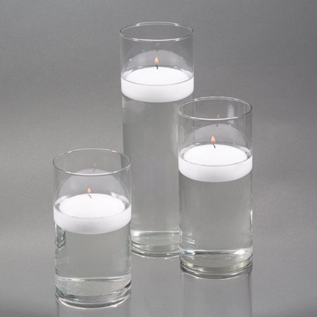 Richland Floating Candles & Eastland Cylinder Holders White Set of 3 ()