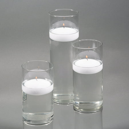 Richland Floating Candles & Eastland Cylinder Holders White Set of 3 (White Rose Floating Candles)