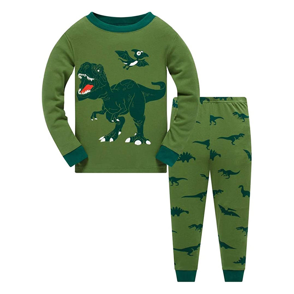 Toddler Kids Boys Pajamas Cotton Dinosaur Sleepwear T shirt Tops Pants Set