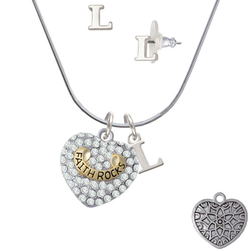 Gold Tone 'Faith Rocks' on Clear Crystal Heart L Initial Charm Necklace and Stud Earrings Jewelry Set by Delight and Co.