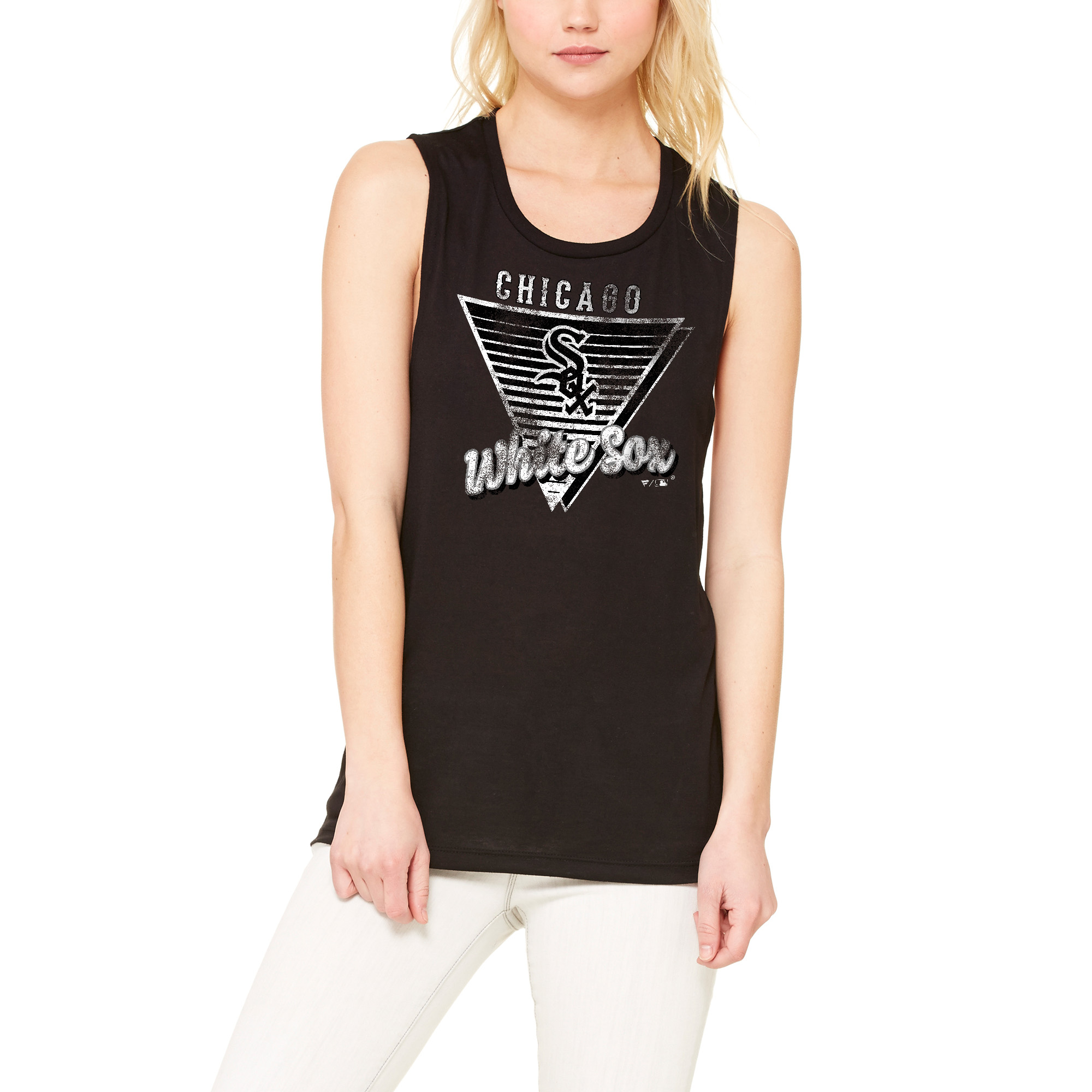 Chicago White Sox Let Loose by RNL Women's Eighty Something Muscle Tank Top - Black