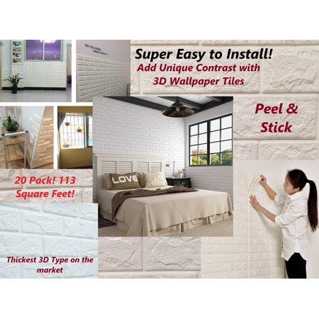 "20 pack 3D Brick Wallpaper Brick Stone Self Adhesive Home Wall Tiles LARGE 30.3"" x 27"" Peel & Stick 113 SQ FT"