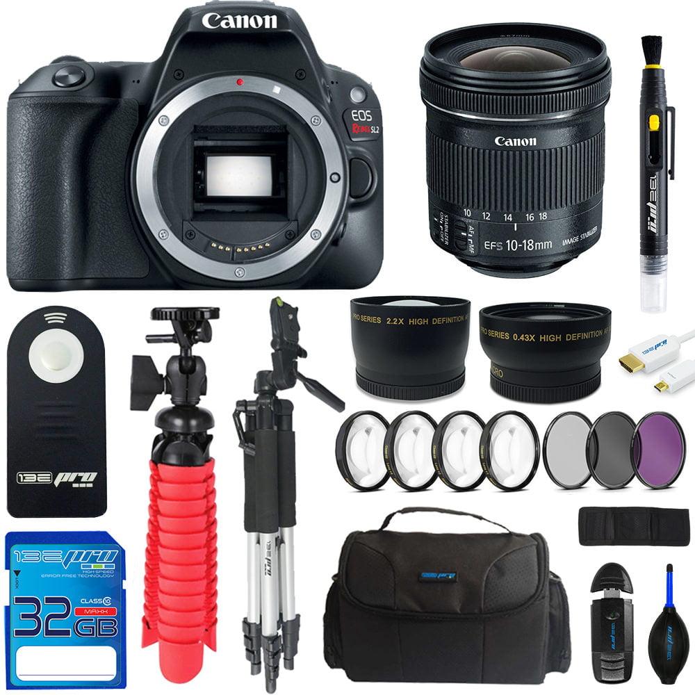 Canon EOS Rebel SL2/200D DSLR Camera (Black) + Canon 10-18mm IS STM Lens + Pixi Advanced Bundle Kit