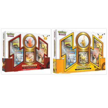 Pokemon Trading Card Game Charizard EX and Pikachu EX Red and Blue Collection Box Bundle, 1 of Each. Includes 4 Generations Booster Packs Each and Figurine