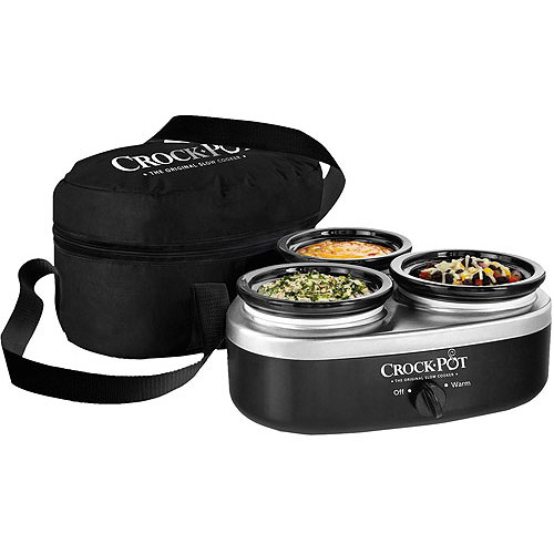 Crock-Pot 16-Ounce Little Triple Dipper, Silver and Black