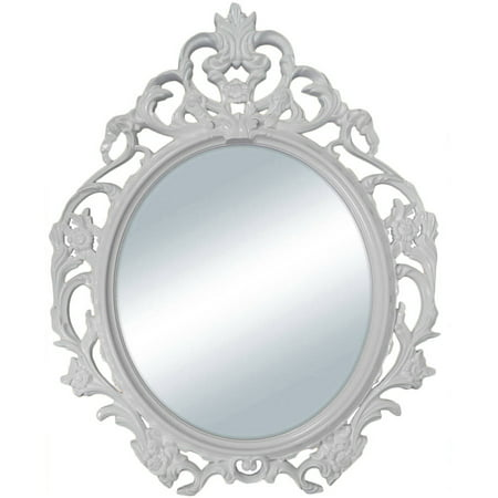 Mainstays White Baroque Oval Wall Mirror - Flame Oval Mirror
