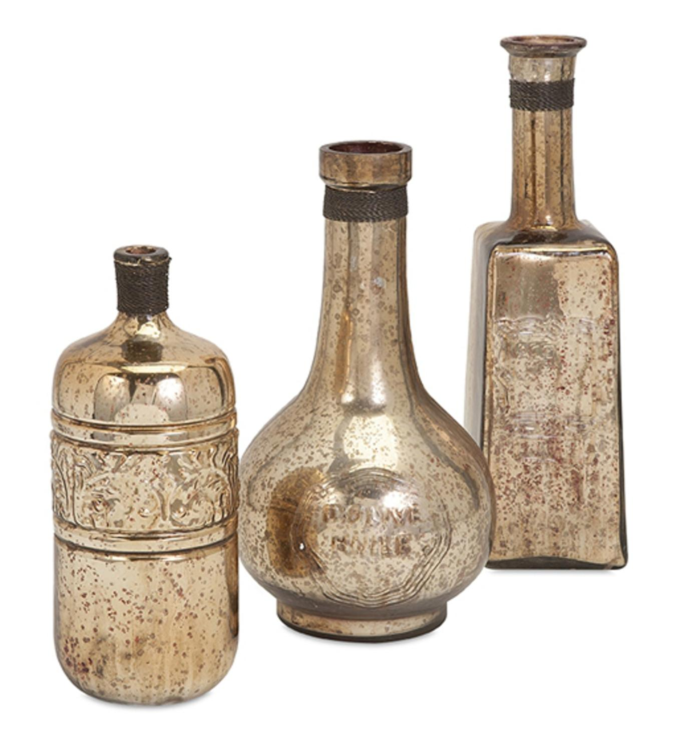 Set of 3 Alli Gold Mercury Glass Bottles with Brass Accents 16.5""