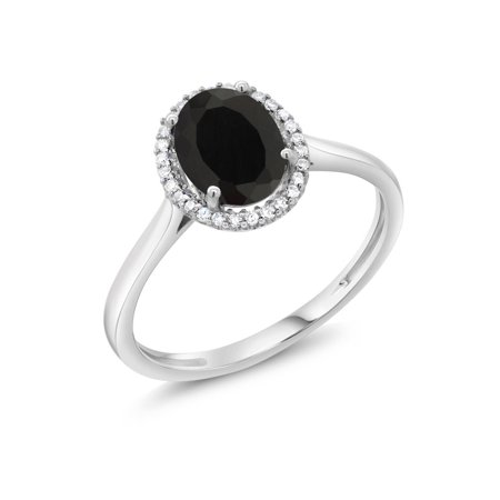 10K White Gold Diamond Ring 1.25 Ct Oval Black Onyx (Black Lantern Ring)