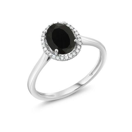 Topaz Onyx - 10K White Gold Diamond Ring 1.25 Ct Oval Black Onyx