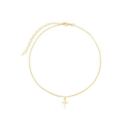 - Petite Cross Gold Choker Necklace