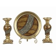 Monique Collection 4 Pc Charger, Stand & 2 Candlestick Set