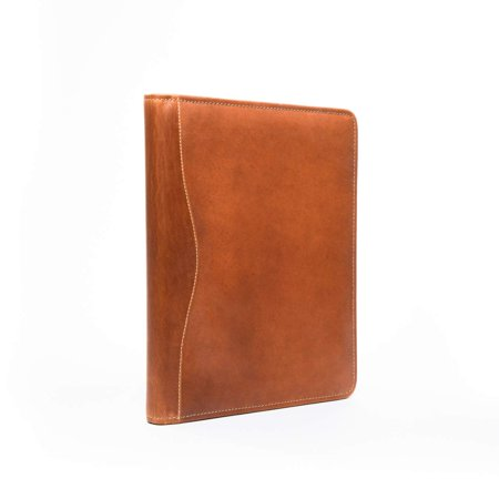 Bellagio-Italia Tan Full-Grain Leather Portfolio Folder and Meeting Folder - Includes Metal Pen and Legal Pad - Perfect for Business, Resumes, and Business Card (Business Card Portfolios)