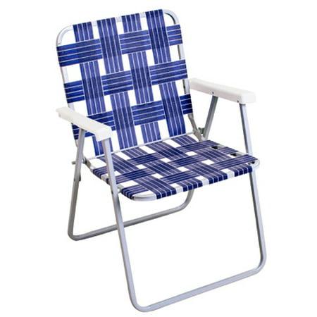 Woven Blue Webbing Aluminum Folding Chair White Plastic