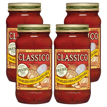 (4 Pack) Classico Caramelized Onion & Roasted Garlic Pasta Sauce, 24 oz Jar