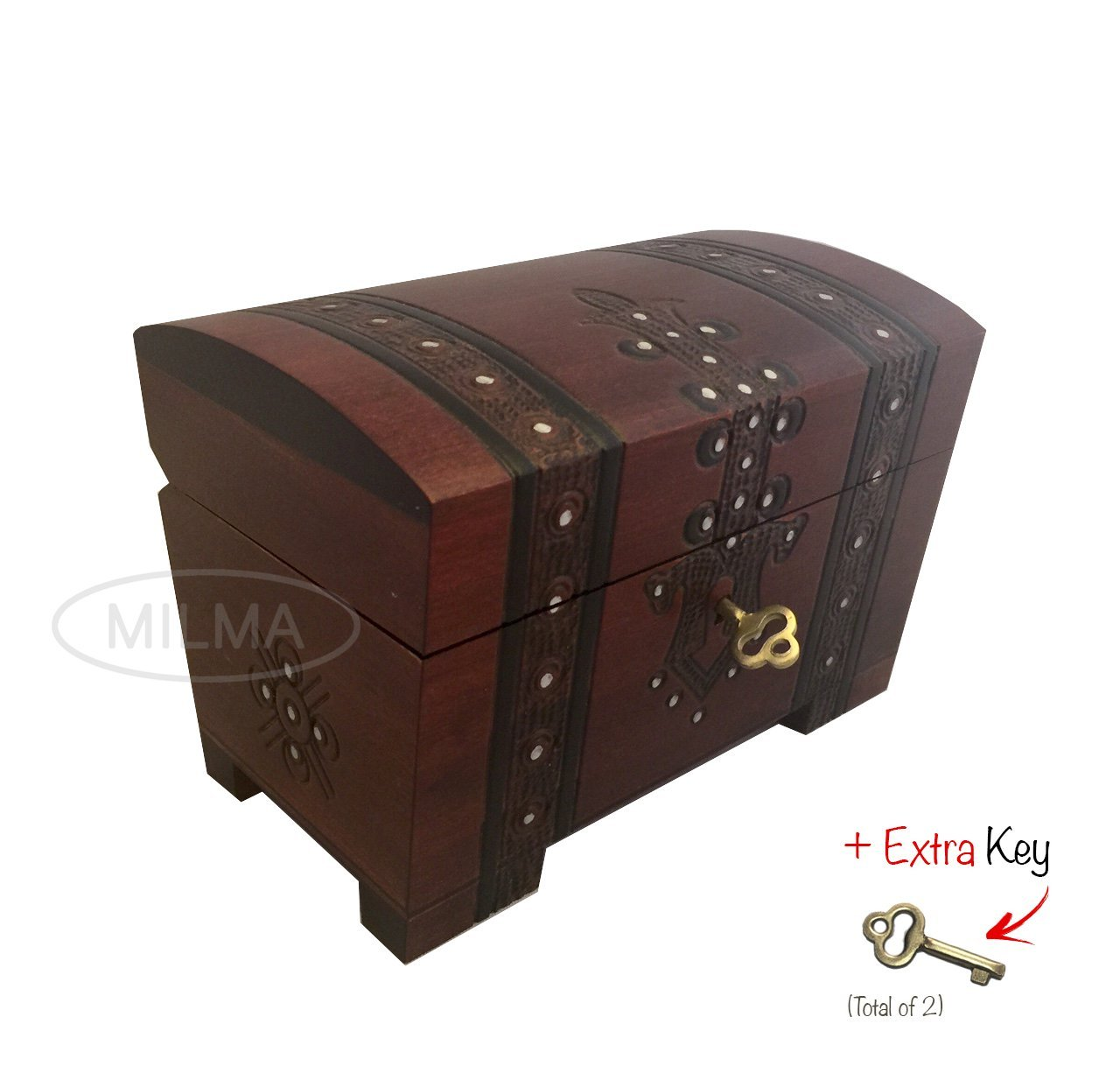 Handmade Wooden Treasure Chest Box w/ Lock and Key Polish...