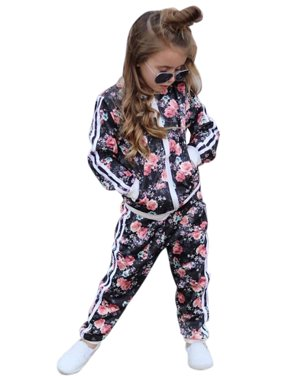 KidPika Kids Children Girl Floral Sport Jacket Top Trouser Pant 2 Piece Tracksuit Outfit