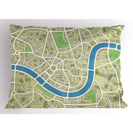 Map Pillow Sham Street Map Without Names Metropolis Capital City Downtown Urban  Decorative Standard Queen Size Printed Pillowcase  30 X 20 Inches  Avocado Green Lime Green Blue  By Ambesonne