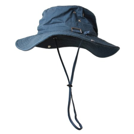 Fishing draw string mesh boonie hat with top side buckle for Fishing hats walmart