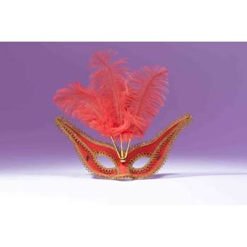GALA MASK W/FEATHER-RED - Mardi Gras Accessories