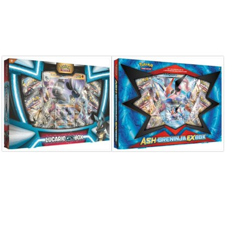 Pokemon Lucario GX Collection Box and Ash Greninja EX Box Trading Card Game Collection Box Bundle, 1 of Each. Great Variety Gift Set For Boys or