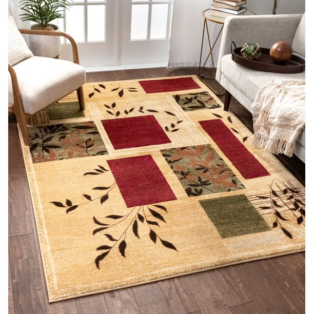 Well Woven Great Forest Floral Nature Modern Formal Area Rug Easy To Clean Stain Fade Resistant Shed Free Traditional Transitional Soft Living Dining Room Rug Walmart Com Walmart Com