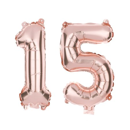 Ella Celebration 15 Number Balloons for 15th Birthday Party or Quinceanera, 40 Inch Balloon Numbers (Rose Gold) for $<!---->