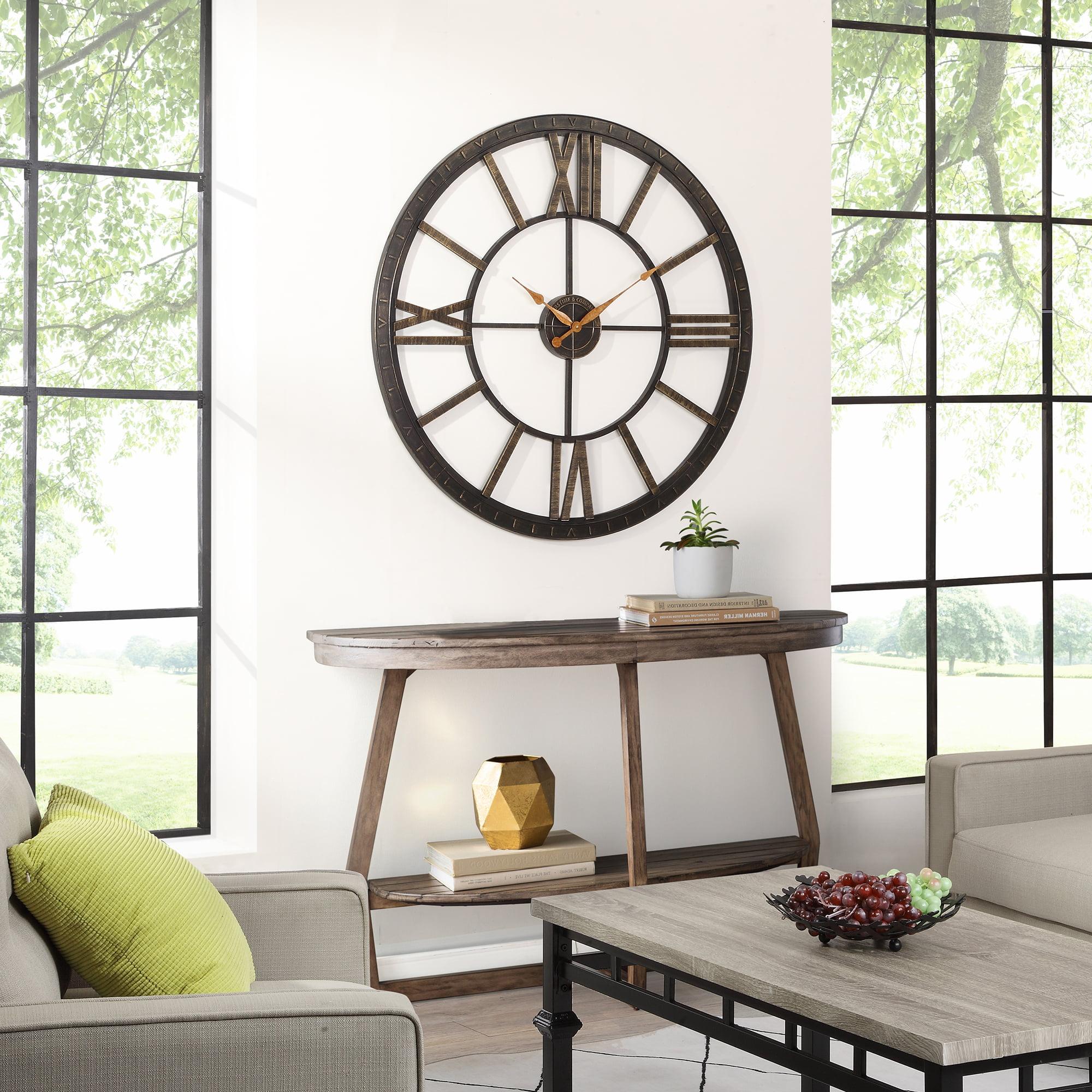 Firstime Co Big Time Wall Clock Oil Rubbed Bronze 40 In Walmart Com Walmart Com