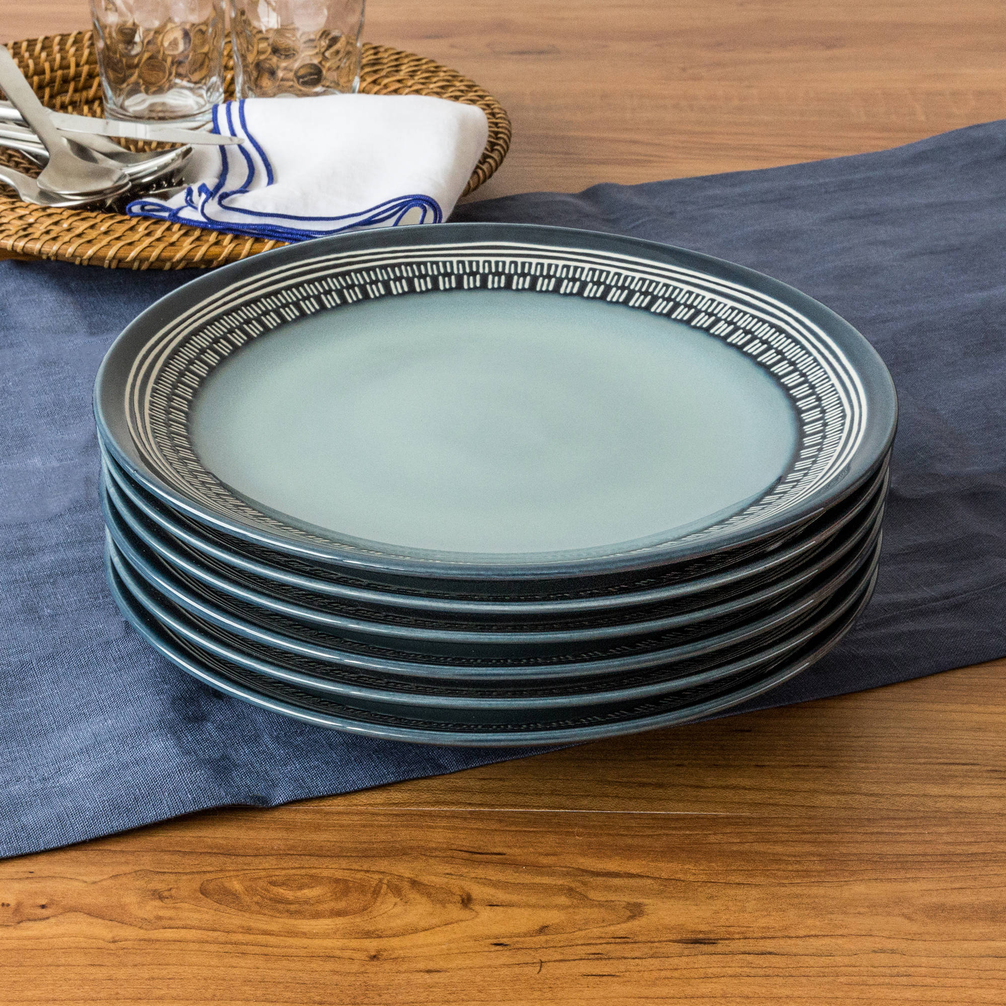 Better Homes and Gardens Teal Medallion Dinner Plates, Teal, Set of 6