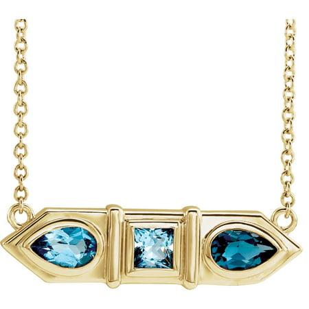 14K Yellow Gold Blue Multi-Gemstone Geometric Bar Pendant Necklace 18 inch Geometric Yellow Necklace